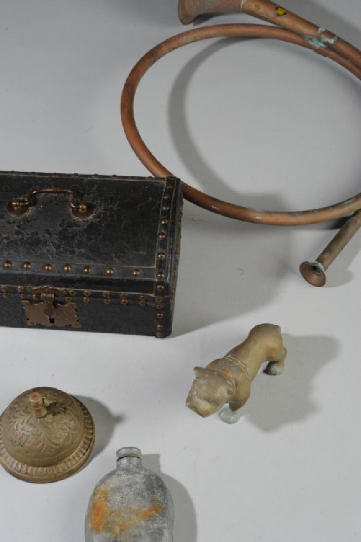 Mixed Lot: Antique Pewter Flask, Leather Box + - 3