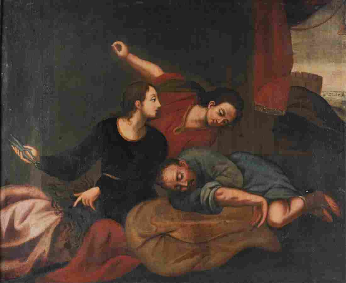 Continental Oil on Canvas Samson & Delilah 18th C