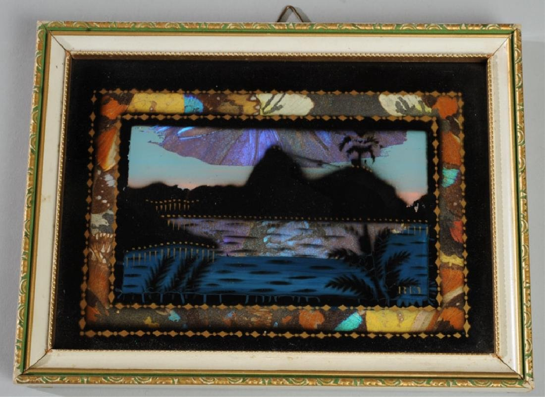Vintage Rio Souvenir Painting with Butterfly Wings