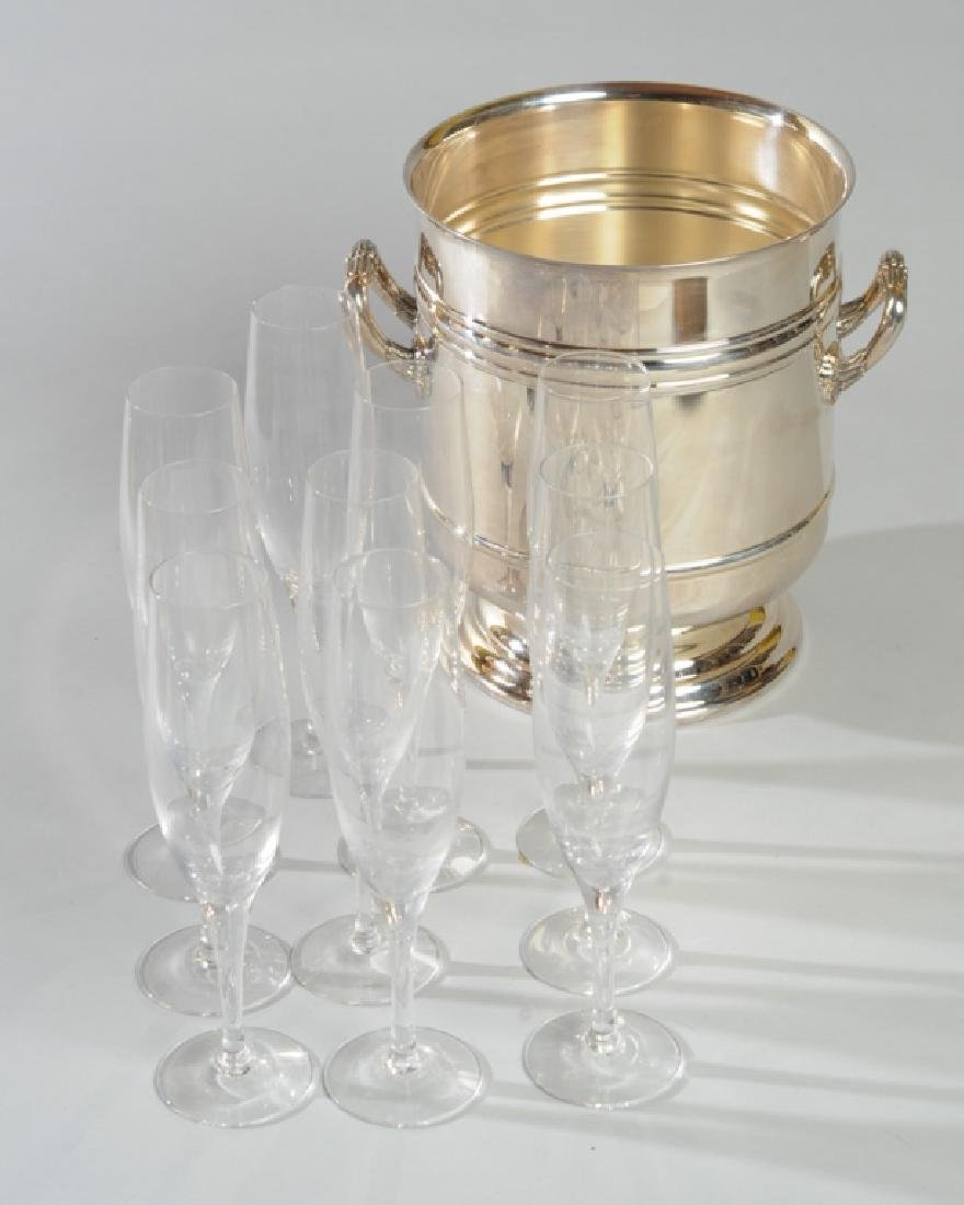 Orrefors Champagne Flutes & Chirstofle Ice Bucket