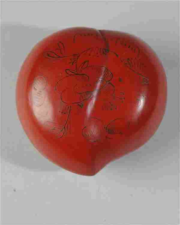 Chinese Qing Peach Red Lacquer Box