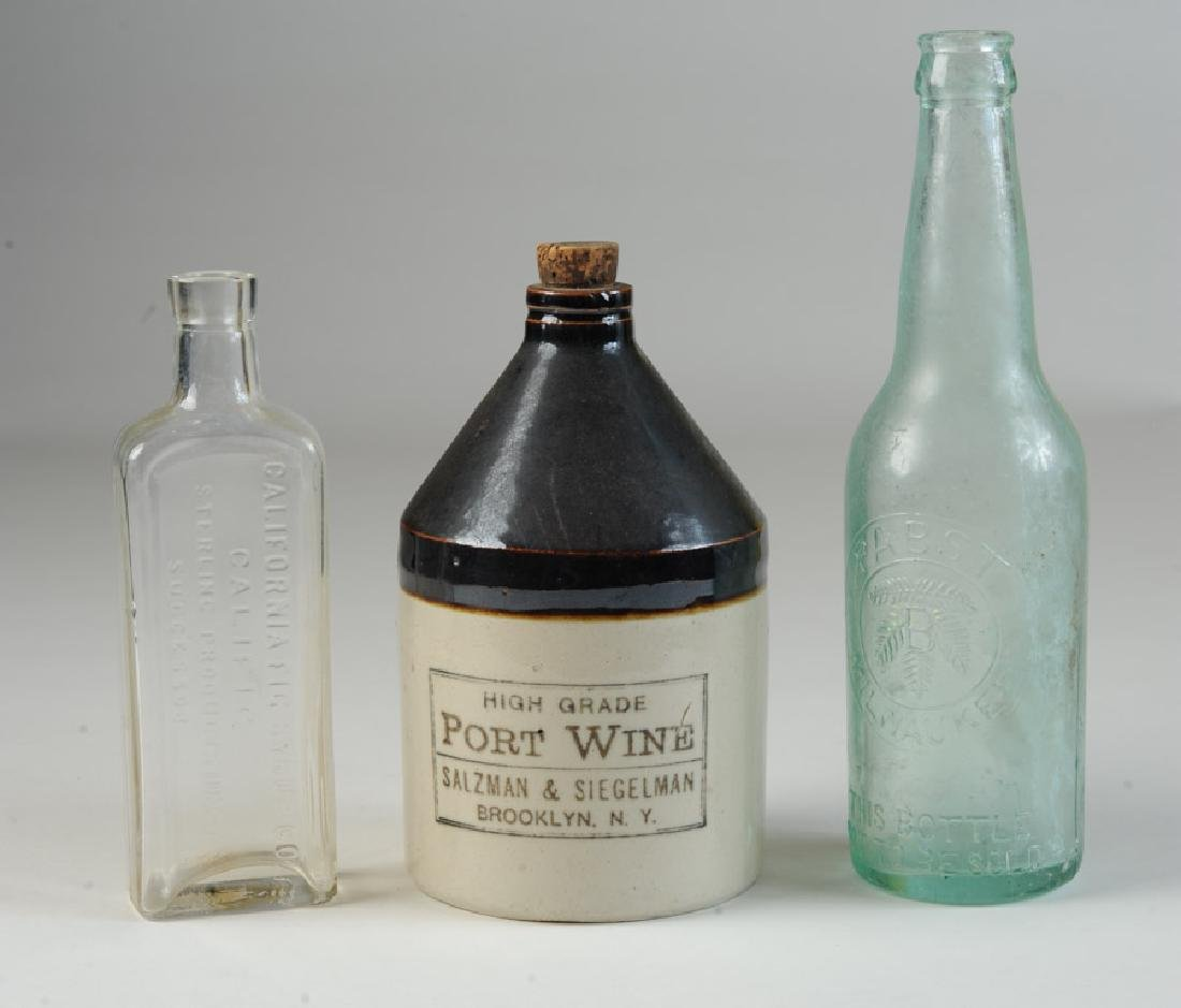 Two Vintage Glass Bottles & Stoneware Jug