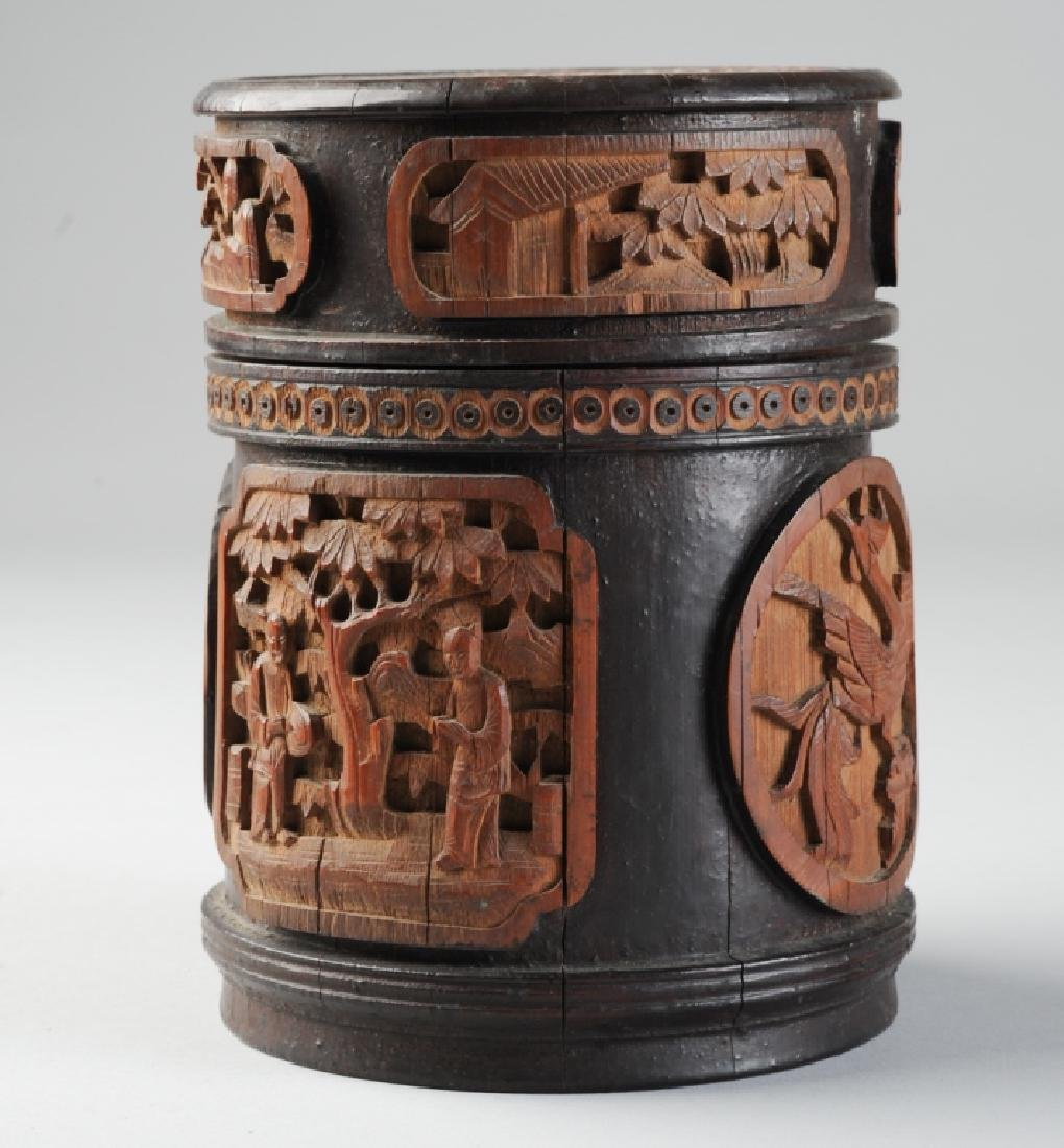 Antique Chinese Carved Bamboo Humidor