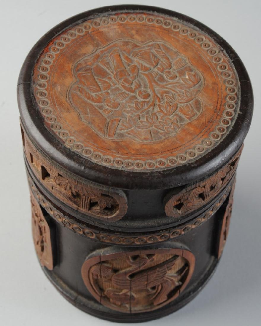 Antique Chinese Carved Bamboo Humidor - 4