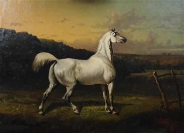 Alfred de Dreux (1810 - 1860) An Arab Stallion