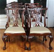Six Mahogany Chippendale Style Chairs