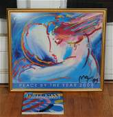 Peter Max Signed Offset Lithograph and Signed Book