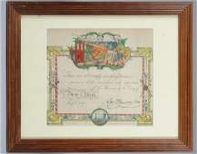 Lithograph of New York Firemans Certificate 1863