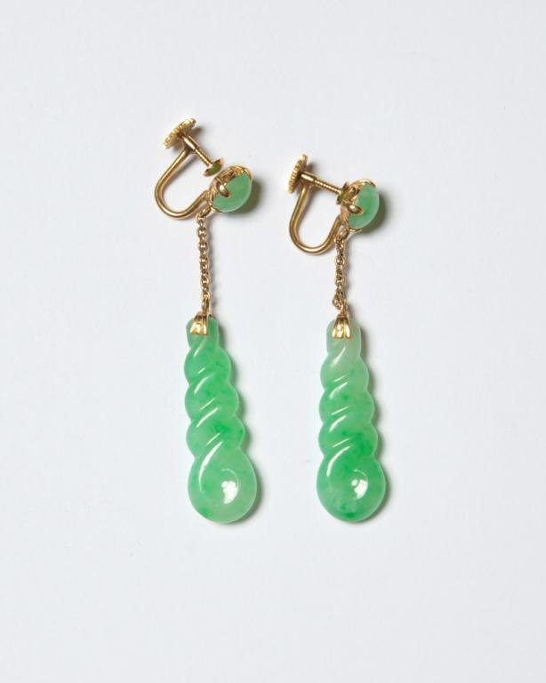 18K Gold and Jade Drop Earrings