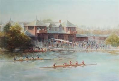 John Gable Watercolor, Newell Boathouse