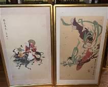 Pair Chinese Paintings on Silk
