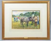 Kenneth Webb (Ireland 1927-) Equestrian Watercolor