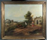 19th C. American Oil on Canvas Revolutionary War