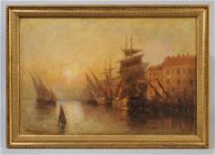 Oil on Canvas Otis S. Weber (b. 1847) Sailboats