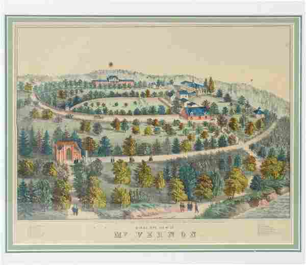 Birds Eye View of Mt. Vernon 19th C. Lithograph