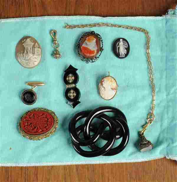 19th C Jewelry: Fob Seal, Jet, Sardonyx Cameos +