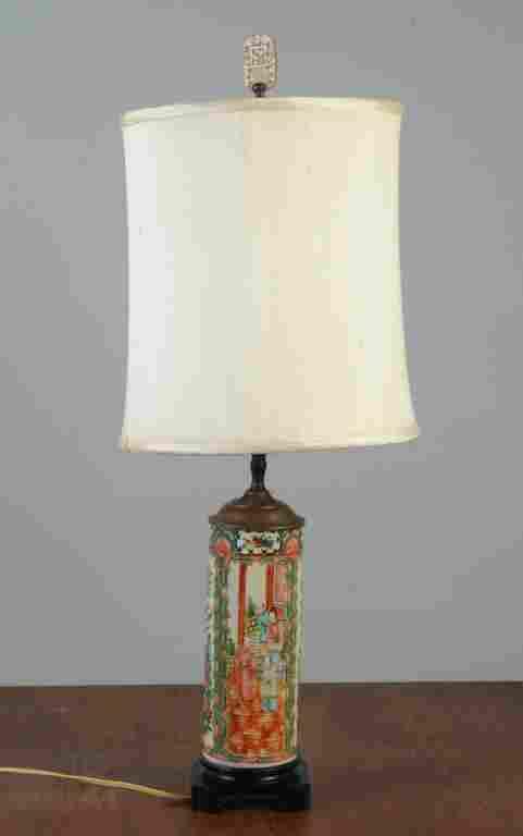 19th C. Chinese Rose Medallion Vase as Lamp