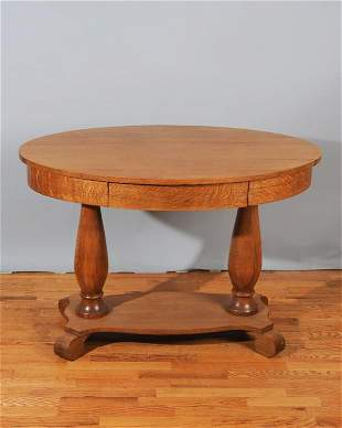 Empire Style Oak Single Drawer Library Table