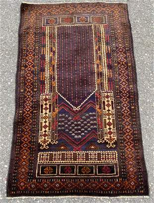 Old Tribal Baluchi Prayer Rug