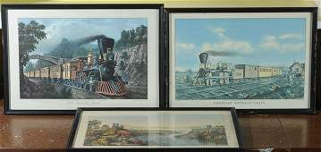 Three Early Rail Road Scene Prints Currier  Ives