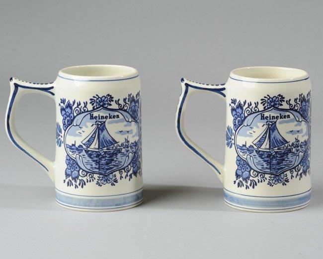 Two Hand Painted Delftware Heineken Beer Mugs - 3