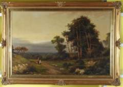 Jack M Ducker Oil on Canvas Landscape with Figure