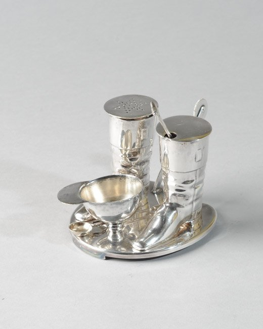 Unusual Silverplated Hunt-Themed Condiment Set