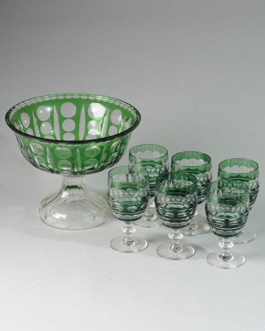 Crystal Compote and Six Goblets, Green to Clear