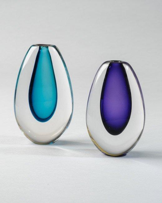 Two Jonathan Poirier Blown Glass Vases