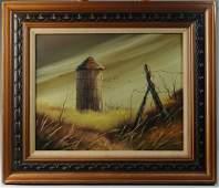Everett Woodson (1933-) Oil on Canvas, Farm Scene