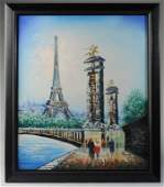 Caroline Burnett Oil on Canvas Paris Cityscape