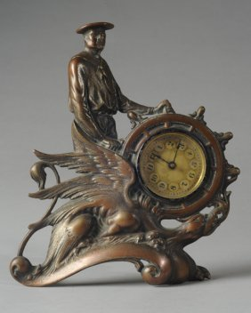 Unusual 19th C. Metal Naval Clock With Eagle Motif