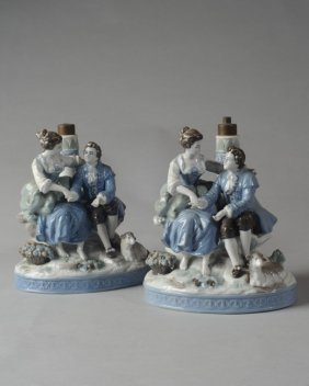 Pair Of Matching German Porcelain Figural Lamps