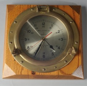 Mid Century Bell Clock Co. Brass Ship's Clock