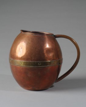 Antique Copper And Brass Pitcher