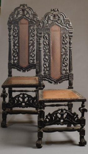 Pair Of C. 1805 William & Mary Style Side Chairs