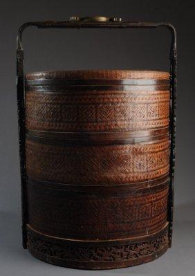 Large Antique Chinese Wedding Basket