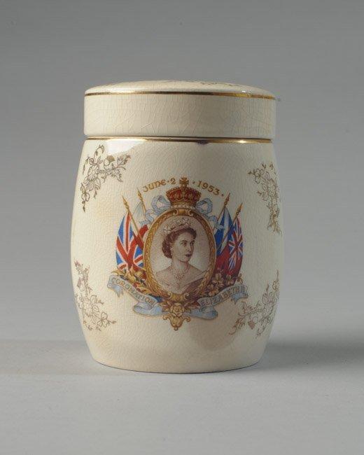 Queen Elizabeth II Lidded China Coronation Jar