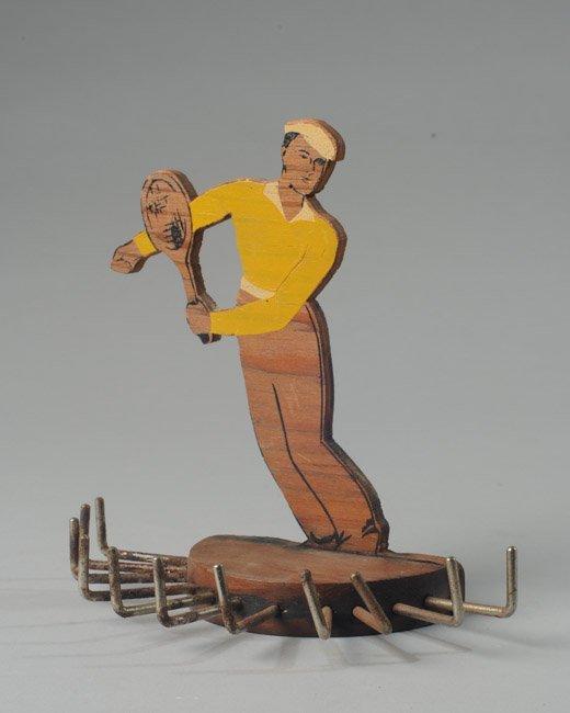 Wooden Tennis Player Tie Rack
