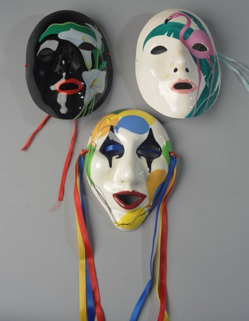 Three Porcelain Mardi Gras Masks