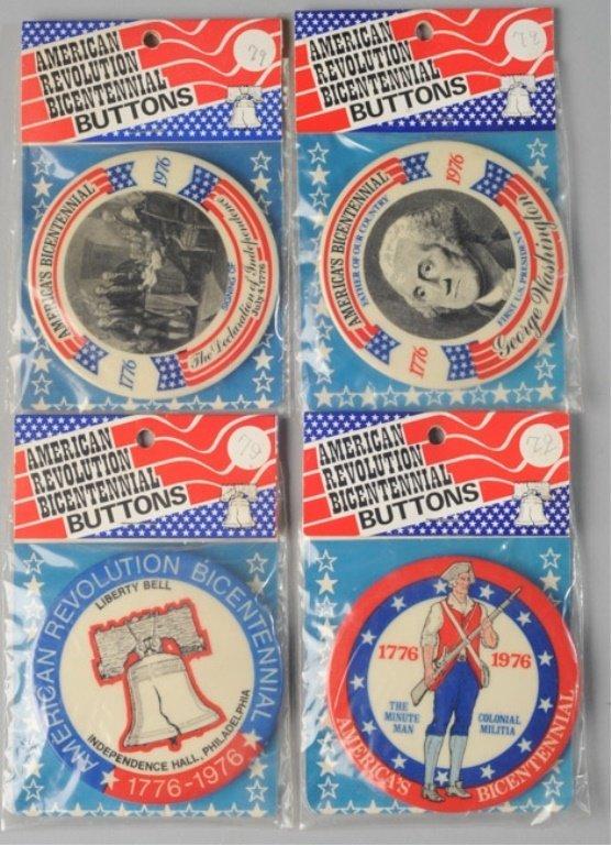 Four American Revolution Bicentennial Buttons