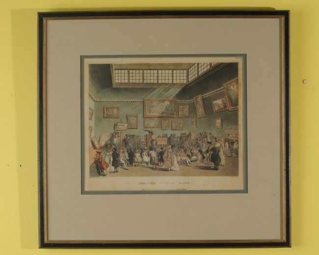 "19th C. Lithograph, ""Christie's Auction Room"""