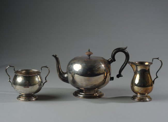 E. 20th C Victor Obler 3 Piece Silverplate Tea Set