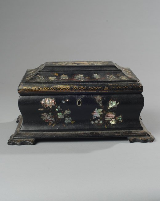 19th C Black Lacquer & Mother of Pearl Dresser Box