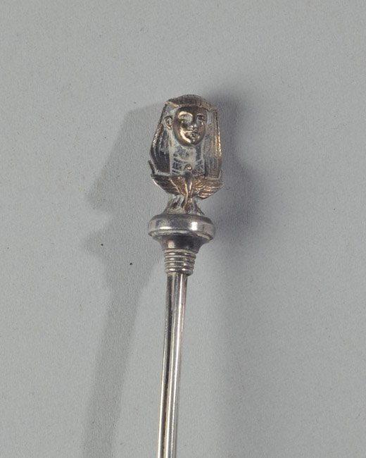 Unusual Sterling Silver Pharaoh Head Serving Spoon - 3