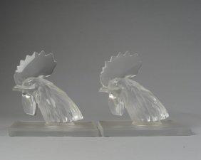"""Pair Of Lalique """"tete De Coq"""" Paperweights"""