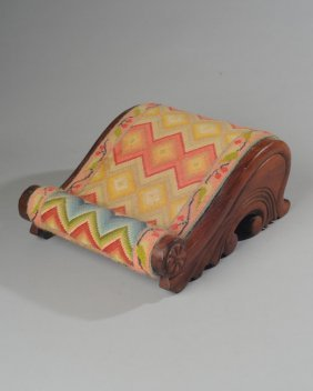 19th C. Carved Mahogany Footstool