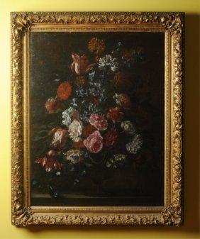 19th C. Dutch Floral Still Life Oil On Canvas
