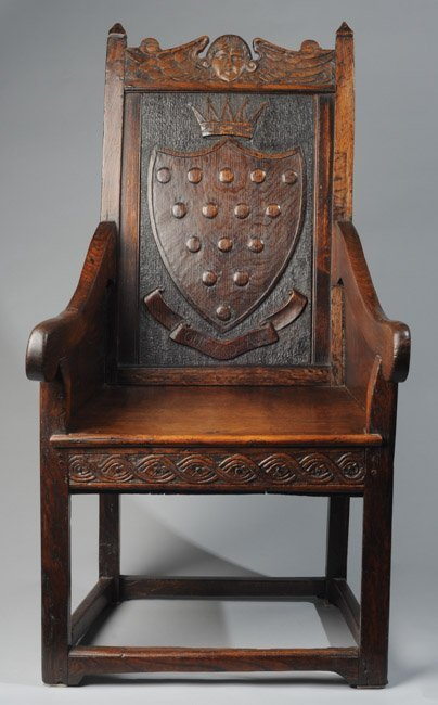 19th C. English Carved Oak Ducal Armchair