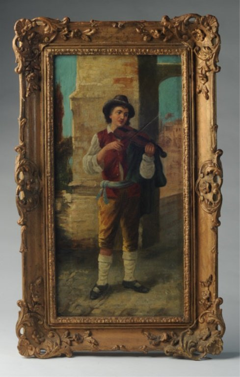 """19th C. Continental Oil on Canvas """"Violinist"""""""